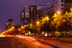 Paseo de la Castellana in evening time.  Madrid Royalty Free Stock Images