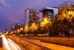 Paseo de la Castellana in night.  Madrid Royalty Free Stock Photos