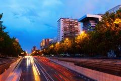 Paseo de la Castellana  in summer evening. Madrid, Spain Royalty Free Stock Photos