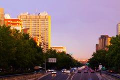 Paseo de la Castellana in sundown.  Madrid Royalty Free Stock Photos