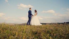 Paseo de la montaña de los pares de la boda almacen de video