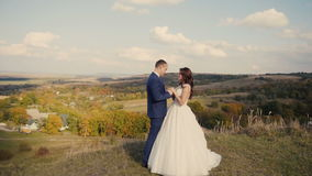 Paseo de la montaña de los pares de la boda almacen de metraje de vídeo