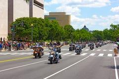 Paseo de la motocicleta del trueno del balanceo para el americano POWs y los soldados de MIA Imágenes de archivo libres de regalías