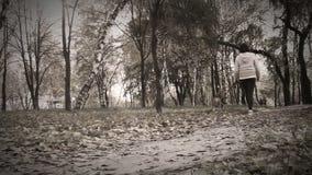 Paseo de la muchacha alrededor con el perrito del beagle en película vieja del parque otoñal almacen de video