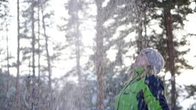 Paseo de la mujer en el bosque del invierno almacen de metraje de vídeo