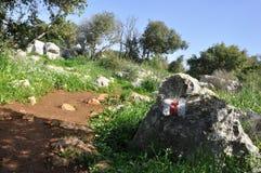 Paseo de la naturaleza de la trayectoria del soporte en la OPINIÓN de la ROCA de la HIERBA de la montaña de Carmel @ Imagenes de archivo