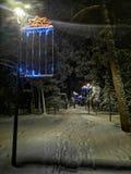 Paseo de la noche de la nieve imagen de archivo libre de regalías