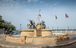 Paseo de la Princesa喷泉在老圣胡安 图库摄影
