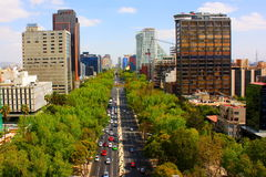 Paseo de la Reforma I. Eastern view of the Paseo de la Reforma in Mexico City, Mexico Stock Image