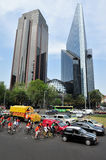 Paseo de la Reforma in Mexico City. MEXICO CITY - FEB 24: Traffic on the Reforma Avenue in Mexico City, Mexico.It's a major tourist attractions, filled with Royalty Free Stock Image