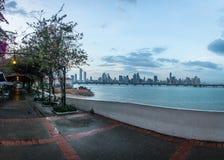 Paseo de Las Bovedas waterfront esplanade and city Skyline - Panama City, Panama Royalty Free Stock Images