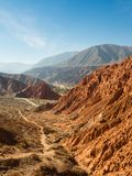 Paseo de los Colorados in Purmamarca, 7 colours mountain in northwest of Argentina royalty free stock image