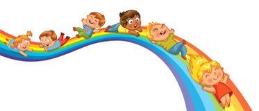 Paseo de los niños en un arco iris stock de ilustración