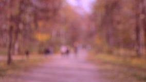 Paseo de mucha gente en el parque Fondo enmascarado almacen de metraje de vídeo