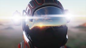 Paseo del astronauta en el planeta extranjero Martian encendido estropea Concepto de la ciencia ficción Animación realista 4K ilustración del vector