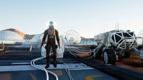 Paseo del astronauta en el planeta extranjero Martian encendido estropea Concepto de la ciencia ficción representación 3d imagen de archivo libre de regalías