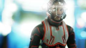 Paseo del astronauta en interior de la nave espacial martian Concepto de la ciencia ficción Animación realista 4K stock de ilustración