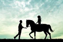 Paseo del caballo en la puesta del sol Imagen de archivo