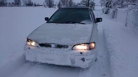 Paseo del coche del invierno Fotos de archivo