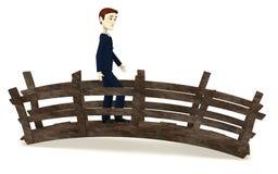 Paseo del hombre de negocios de la historieta en el puente libre illustration