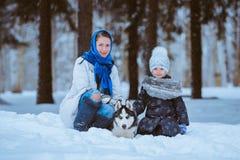 Paseo del invierno con el perro esquimal imágenes de archivo libres de regalías