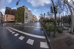 Paseo del Prado Madrid mars 11th, 2018 spain Royaltyfria Foton