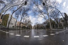 Paseo del Prado Madrid mars 11th, 2018 spain Royaltyfri Bild