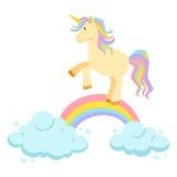 Paseo del unicornio en el arco iris ilustración del vector