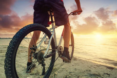 Paseo en la bici en la playa imagen de archivo