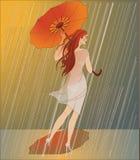 Paseo en la lluvia Imagen de archivo libre de regalías
