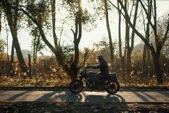 Paseo en una motocicleta vieja del café-corredor, fondo del motorista del otoño Fotografía de archivo