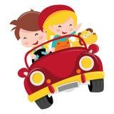Paseo feliz del coche de los niños stock de ilustración
