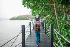 Paseo hermoso de las mujeres jovenes del fondo del viaje solamente en ingenio del puente Imagen de archivo libre de regalías