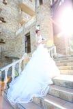 Paseo joven de novia y del novio en naturaleza Foto de archivo libre de regalías