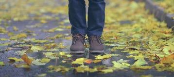 Paseo a lo largo de la trayectoria del otoño, primer Imágenes de archivo libres de regalías