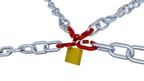 Paseo a lo largo de las cadenas con cuatro vínculos rojos cerradas con un candado ilustración del vector