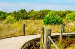 Paseo marítimo de madera en las dunas que llevan a la playa arenosa, el PA Imagen de archivo libre de regalías