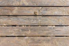 Paseo marítimo de madera resistido en la arena Foto de archivo