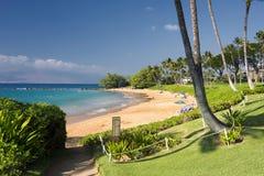 Paseo marítimo a la playa de Ulua, orilla del sur de Maui, Hawaii Fotografía de archivo