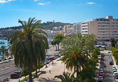 Paseo Maritimo and Bellver Castle Stock Image