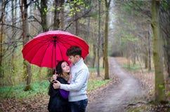 Paseo que cae en lluvia del paraguas del amor Imagen de archivo libre de regalías