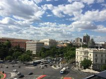 Paseo Recoletos, Madrid, Spain. City center. View from Palacio Cibeles. Picture taken in Stock Image