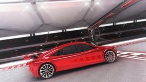 Paseos rojos del coche deportivo con vista lateral del final Fotografía de archivo