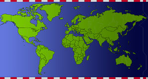 Países do verde do mapa do tempo do mundo Imagem de Stock Royalty Free