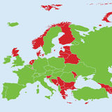 Países europeus no mapa que participa ao competiam final do campeonato 2016 do futebol do europeu Imagens de Stock