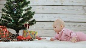 Pasgeboren baby die de Kerstboom onderzoeken stock videobeelden