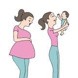 Pasgeboren baby met moeder Stock Foto