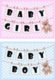 Pasgeboren babykaarten Royalty-vrije Stock Fotografie