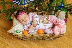 Pasgeboren babyslaap in een mand stock afbeeldingen