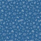 Pasgeboren Het kleurrijke vector naadloze patroon in Krabbel en de beeldverhaalstijl op de baby als thema hebben Blauw vector illustratie